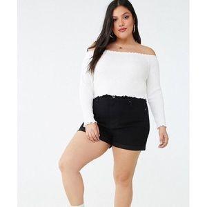 Forever 21 Plus High Waisted Black Denim Shorts